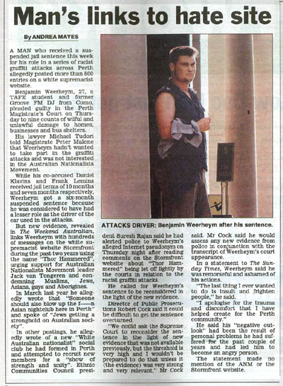 Weerheym convicted of race hate crime (image: The West Australian)