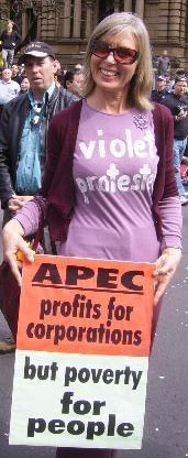 cheeky violet protester - image: Sydney Indymedia